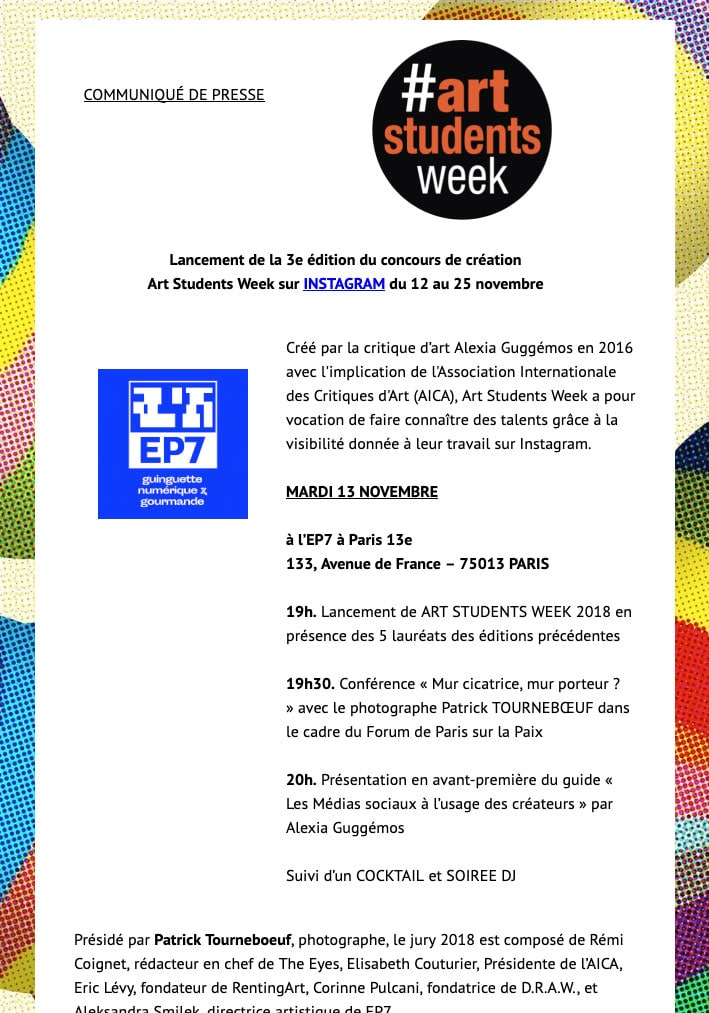 Invitation www.artstudentsweek.com